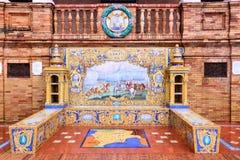 Albacete. Plaza de Espana, Seville, Spain - old decorative ceramics alcove dating back to year 1928. Albacete city theme Stock Image