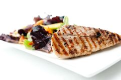 Albacore tuna fish fillet with salad Royalty Free Stock Photography