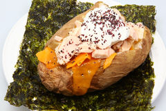 Albacore Tuna stuffed Baked Potato on Seaweed. With Dulse Flakes, Cheese and Sour Cream stock photo