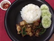 Albahaca curruscante del cerdo del arroz Imagen de archivo