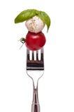Albahaca, mozarela y tomate en una fork Foto de archivo
