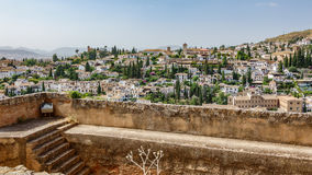 Albaicin from Alhambra wall Stock Photography