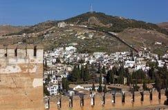 Albaicin-Bezirk in Granada von Alhambra Stockfoto