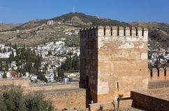 Albaicin District in Granada from Alhambra Stock Images