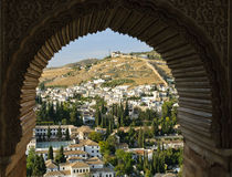 The Albaicin of Granada through a Moorish window Royalty Free Stock Photography