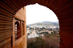 Albaicin in Granada seen from Alhambra Stock Images