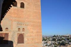 Albaicin - Granada som ses från Alhambra Slott-Spanien arkivfoton