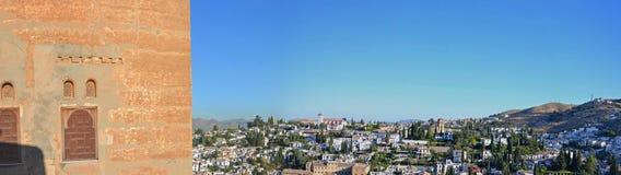 Albaicin - Granada som ses från Alhambra Slott-Spanien arkivbild