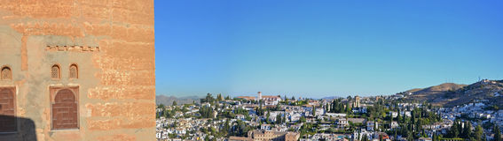 Albaicin - Grenade vus d'Alhambra Palais-Espagne Photographie stock