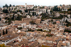 Albaicin neighborhood view. From the Alhambra in Granada Stock Photos