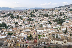 Albaicin is an old Muslim quarter of Granada seen from Alhambra Palace Stock Photos