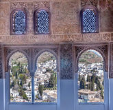 Albaicin view from the windows. Of the Arabic style of the Alhambra Nasrid monument located in the Spanish city of Granada Stock Image