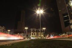 Albalad historiskt ställe Jeddah Saudiarabien på natten Balad som shoppar areaMay 12, 2018 Saudiarabien Arkivbild