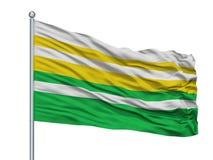 Alban City Flag On Flagpole, Κολομβία, τμήμα Cundinamarca, που απομονώνεται στο άσπρο υπόβαθρο Απεικόνιση αποθεμάτων