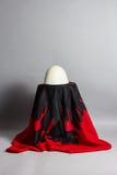 Albanese hoed die op Albanese vlag leggen Stock Afbeeldingen