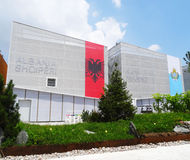 Albanië en San Marino Pavilions, Expo 2015 Royalty-vrije Stock Fotografie