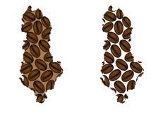 Albanië - kaart van koffieboon Royalty-vrije Stock Afbeeldingen
