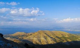 Albania. Landscapes of  Albania from Pantokratoras Kerkyra, Corf�, Greece Royalty Free Stock Photo