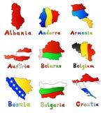 Albania, Andorra, Armenia, Austria, Białoruś, Belgi Zdjęcia Stock