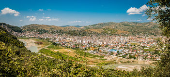 2016 Albania Berat - City of thousand windows, beautifull view of town on the hill between a lot of trees and blue sky Stock Images