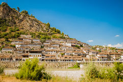2016 Albania Berat - City of thousand windows, beautifull view of town on the hill between a lot of trees and blue sky Royalty Free Stock Image