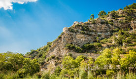 2016 Albania Berat - City of thousand windows, beautifull view of town on the hill between a lot of trees and blue sky Royalty Free Stock Photos