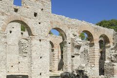 Albania, Butrint, Ruins of a Basilica Royalty Free Stock Photography