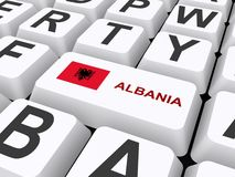 Albania button. An illustration of a keyboard with a button with the Albanian flag and the name of the country Royalty Free Stock Image