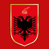 Albania coat of arms and flag. Vector file, illustration albania coat of arms and flag Stock Photos