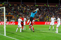 Albania defends against Romania Stock Photo