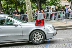 Albania Diplomatic car during Military parade (Defile) in Republic Day (Bastille Day). Champs Elyse Stock Photo