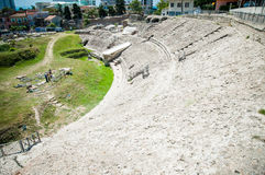 2016 Albania, Durres, historical ruins of the amphitheater. View from the top Royalty Free Stock Photos