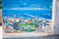 2016 Albania, Durres, Painting, Graffitti on the wall, Street art. On the wall Royalty Free Stock Image