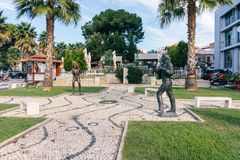 Sculptures of rock stars on a small avenue in the city Durres. A
