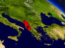 Albania with embedded flag on Earth Stock Image