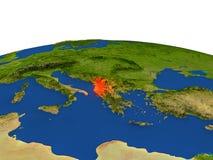 Albania en rojo de la órbita stock de ilustración