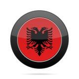 albania flagę Błyszczący czarny round guzik Fotografia Royalty Free