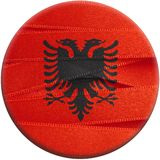 Albania flag or Albanian banner. Made with ribbons Royalty Free Stock Photography