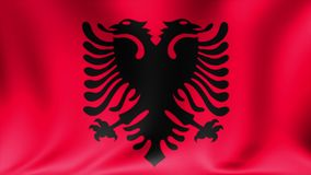 Albania Flag. Background Seamless Looping Animation. 4K High Definition Video. stock footage