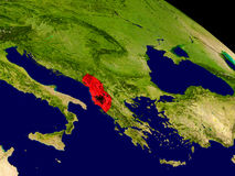 Albania with flag on Earth Stock Image