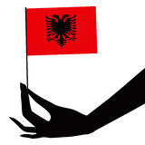 Albania flag in his hand Stock Image