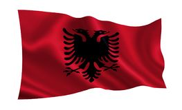 Albania flag. A series of `Flags of the world.`  The country - Albania. Albania flag.  A series of `Flags of the world.`  The country - Albania Royalty Free Stock Images