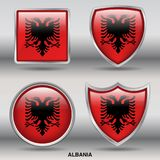 Albania Flag in 4 shapes collection with clipping path stock photography