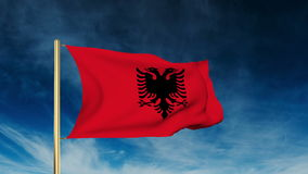 Albania flag slider style. Waving in the win with stock footage