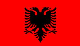 Albania flag vector. Black and red Albanian flag. Vector Royalty Free Stock Photo