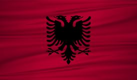 Albania flag vector. Vector albania flag blowig in the wind. EPS 10 Royalty Free Stock Photography