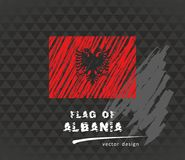 Albania flag, vector sketch hand drawn illustration on dark grunge background. Vector sketch map of Albania with flag, hand drawn chalk illustration. Grunge Royalty Free Stock Photos