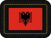 albania flagę Wektorowa ikona na Czarnej skórze royalty ilustracja
