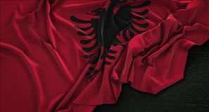 Albania Flag Wrinkled On Dark Background 3D Render Royalty Free Stock Photos