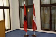 Albania flaga i Latvian flaga Obraz Stock